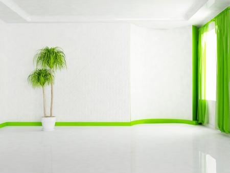 Interior design scene with the plant in the empty room