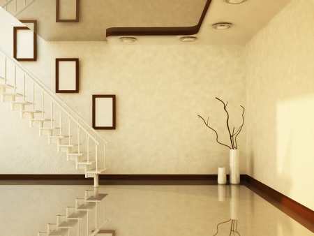 stairs and the vases in the room, rendering