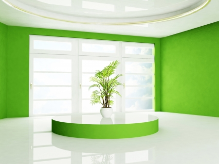 green plant  is standing on the podium, rendering