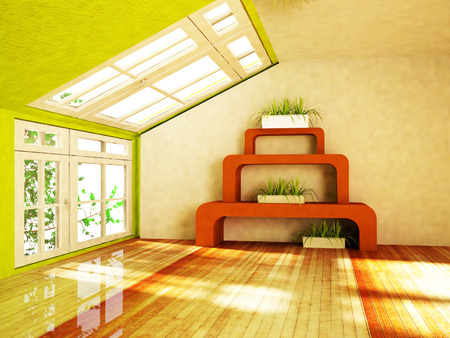room with green plants, rendering