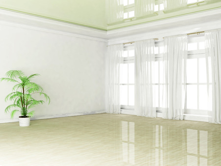 empty room with a plant and a window, 3D rendering