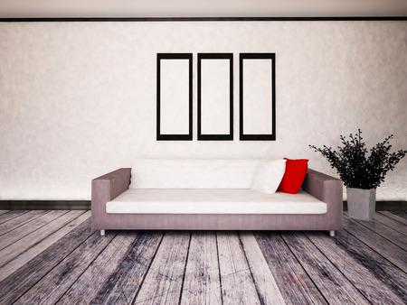 Photo pour white sofa in the room, 3d rendering - image libre de droit