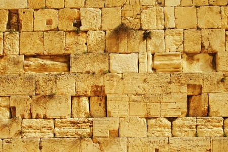 Detail of the western wall in Jerusalem