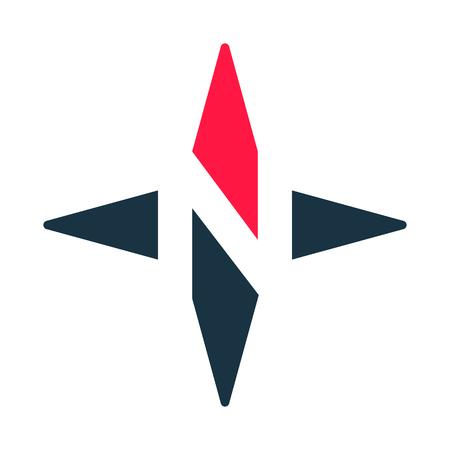 Ilustración de Compass arrow vector icon. N logotype. North West East South Star. Vector illustration. White background. Eps10. - Imagen libre de derechos