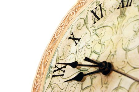 close up od a white clock with roman numerals