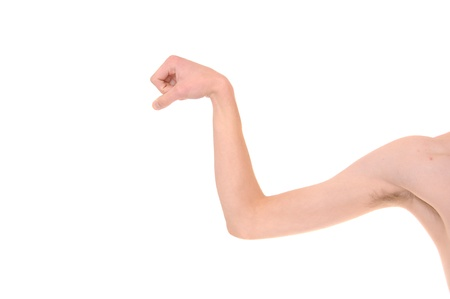 Weak White Caucasian skinny arm trying to flex his muscles. Isolated on white.