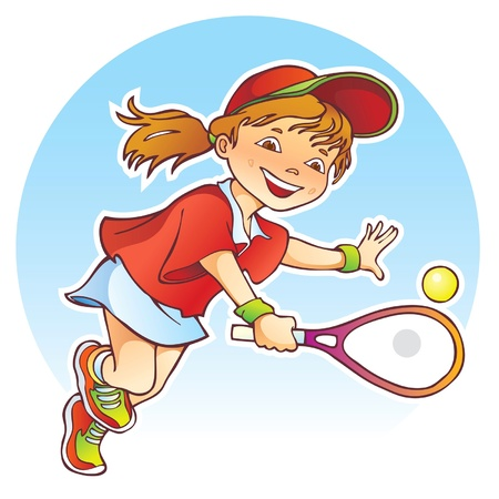 Sportive girl playing tennis