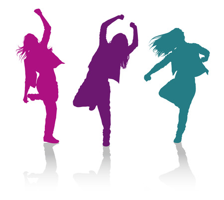 Illustrazione per Detailed vector silhouettes of girls dancing hip-hop dance - Immagini Royalty Free