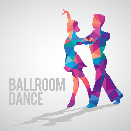 Silhouettes of kids dancing ballroom dance. Multicolored detailed vector silhouette of young ballroom dancers.
