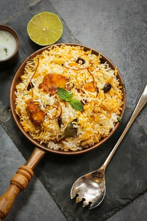 Photo for Fish Biryani made with basmati rice Famous Indian and middle eastern food - Royalty Free Image