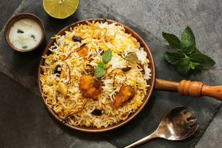 Fish Biryani made with basmati rice Famous Indian and middle eastern food