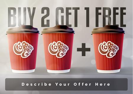 Illustration pour Coffee 2 plus 1 Banner Concept Grey Background. Vector EPS10 - image libre de droit