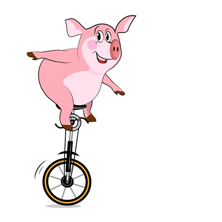 Pig on one wheel. Bicycle With One Wheel