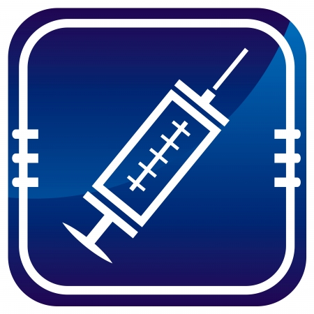 Medical syringe with vaccine - on blue button