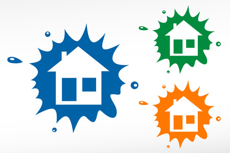 Home Illustration. House silhouettes on color blob