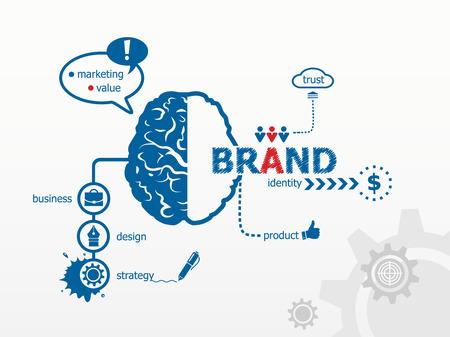 Illustration pour Branding concept for efficiency, creativity, intelligence, professional staff. - image libre de droit