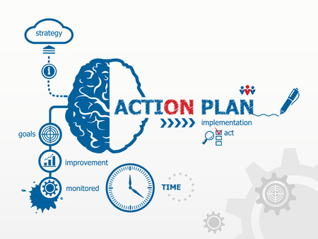 Action Plan concept. Hand writing Action plan with blue marker