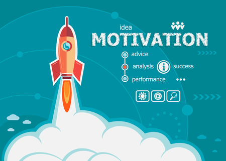 Illustration pour Motivation design and concept background with rocket. Project Motivation concepts for web banner and printed materials. - image libre de droit
