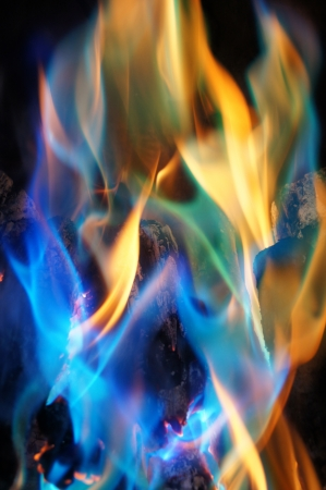 Abstract Blue and Orange Flames from a Log Fire
