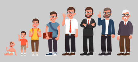 Illustration pour Complete life cycle of person's life from childhood to old age. A baby, a child, a teenager, an adult, an elderly person. Generation of people and stages of growing up. Vector illustration in cartoon style - image libre de droit