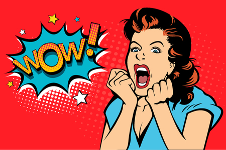 Illustration pour Sexy surprised blonde pop art woman with wide open eyes and mouth and rising hands screaming. Vector background in comic retro pop art style. Party invitation. - image libre de droit