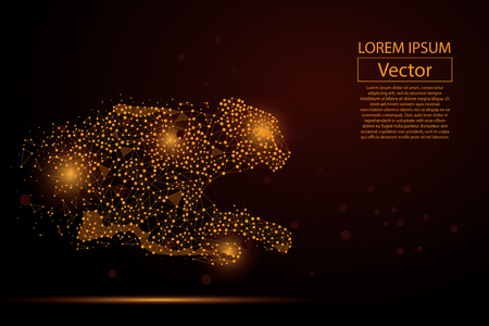 Ilustración de Abstract image of cheetah made of dots, points and mash lines on dark background with an inscription. Business net speed vector illustration. Polygonal, geometry triangle. Low poly vector background. - Imagen libre de derechos