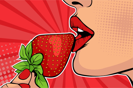 Ilustración de Girls lips with strawberry. Woman eating healthy food. Erotic fantasy. Vector Illustration in pop art retro comic style. - Imagen libre de derechos