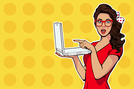 Photo pour Girl with laptop in the handpointing. Digital advertisement. Some news or sale concept. Wow, omg emotion. Cartoon comic illustration in pop art retro style. - image libre de droit