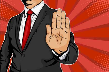Illustration for Businessman puts out his hand and orders to stop. Pop art retro comic style illustration. - Royalty Free Image