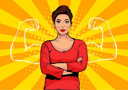 Ilustración de Businesswoman with muscles pop art retro style. Strong Businessman in comic style. Success concept vector illustration. - Imagen libre de derechos