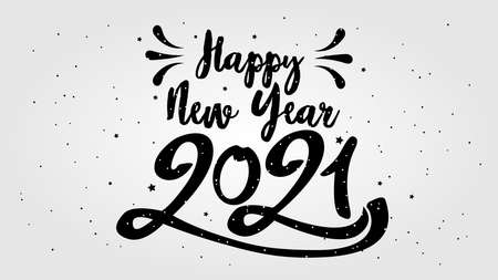 Foto per Happy Typographical 2021 New Year. Vector retro Illustration With Lettering Composition And Burst. Holiday vintage festive label - Immagine Royalty Free