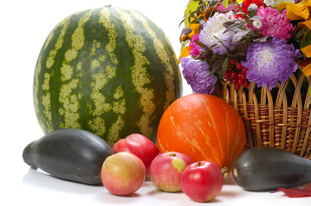 autumn still life with fruits,flowers, vegetables  isolated on whiteの写真素材