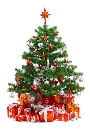 Christmas tree with heap of red gift boxes decorated with satin ribbon isolated on white background