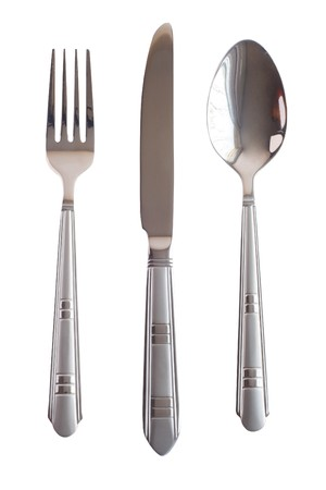 Set spoon fork knife silver isolated