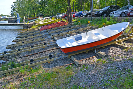 KOTKA, FINLAND - JULY 12, 2014: Slip for descent of boats to the gulf Sapokka