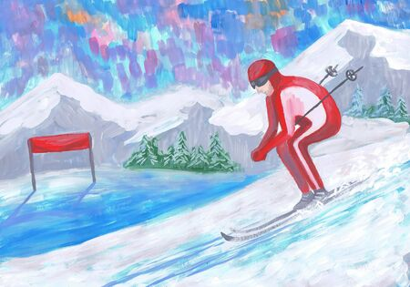 The skier climbs down a mountain. Children's drawing