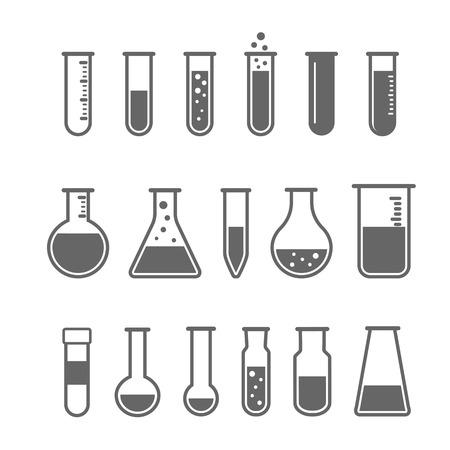Chemical test tube pictogram icons set
