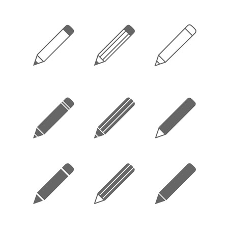 Ilustración de Pencil icons set isolated on white - Imagen libre de derechos