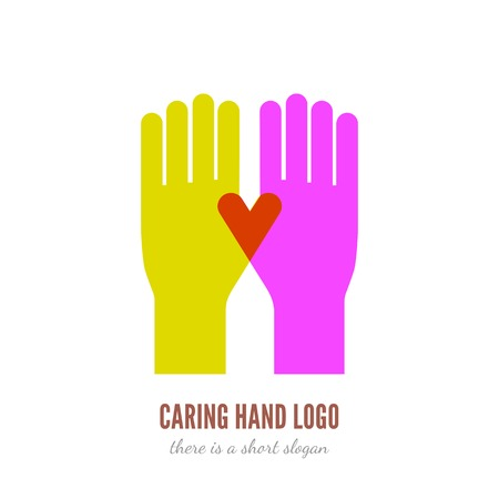 Vector illustration of two hands logo template. Help, care, assistant concept icon.