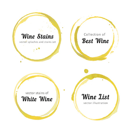 Illustration for  set of white Wine stain circles, splashes and spot isolated on white background. Watercolor hand drawing glass marks. - Royalty Free Image