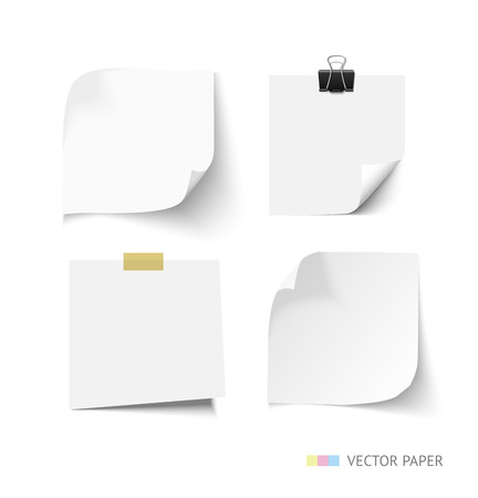 Illustration pour Set of post it paper sheets. Realistic vector notepaper with curl corners. Reminder with paper clip and sticky tape. Realistic vector note paper illustration. Paper sheets with curled corners - image libre de droit
