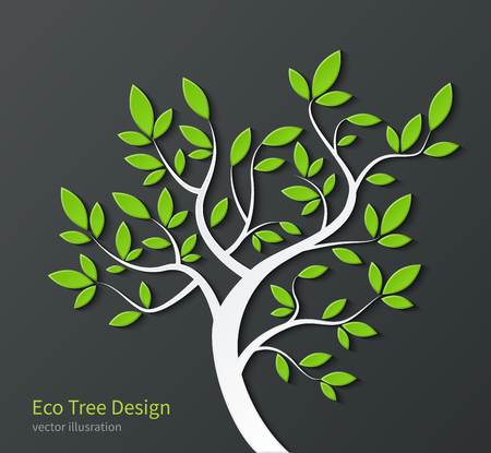 Stylized tree with branches and green leaves isolated on dark background. Ecological concept. Environmental bsckground