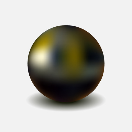 Metallic chrome sphere with shadow isolated on white background, realistic vector illustration
