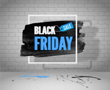 Illustration for Black Friday sale vector grunge banner for web or advertisement.  Watercolor in frame with a shopping tag, blue and black splashes on concrete floor and white brick background - Royalty Free Image