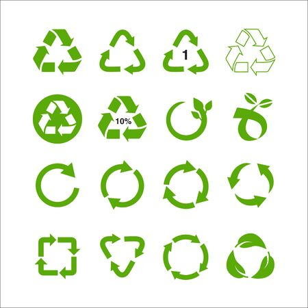 Illustration for Set of recycle symbol vector illustration isolated on white background - Royalty Free Image