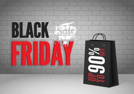 Illustration for Black friday mega sale vector banner template - Royalty Free Image