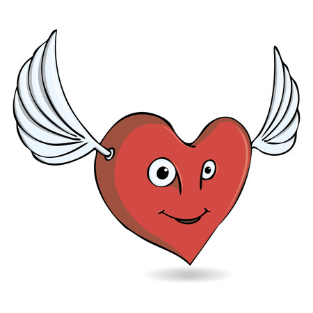 vector illustration merry heart with wings