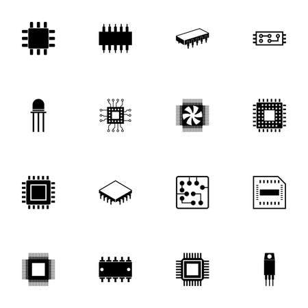 Ilustración de Computer Chips icon - Expand to any size - Change to any colour. Perfect Flat Vector Contains such Icons as CPU, GPU, processor, silicon chip, microchip, microcircuit, resistor, transistor, conductor - Imagen libre de derechos