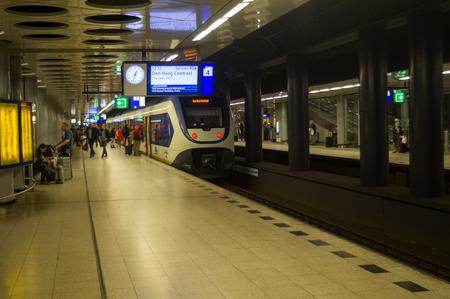 Subway Train Station Passengers ain Amsterdam