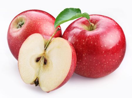 Foto für Two ripe red apples and half of apple. Isolated on a white background. - Lizenzfreies Bild